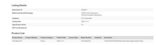 中兴Blade A51实况镜头和关键规格通过FCC认证泄漏