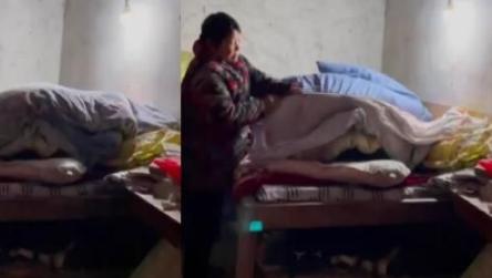 安徽一名女孩放假回家不愿起床 奶奶进屋一掀被子当场就乐了