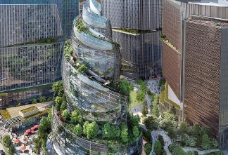 亚马逊的HQ2包括带有螺旋形室外走道的塔楼
