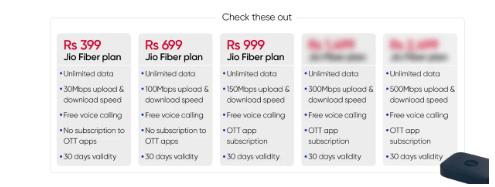 Jio Fiber宽带计划起价为399卢比最高为8499卢比