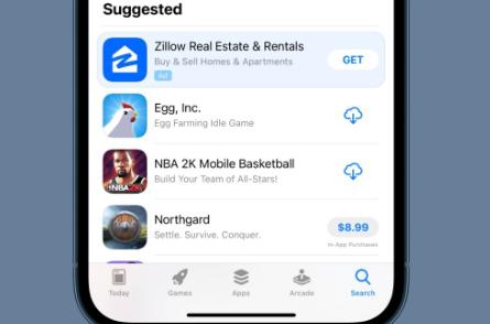 苹果App商店的搜索选项卡现在具有专用的广告位