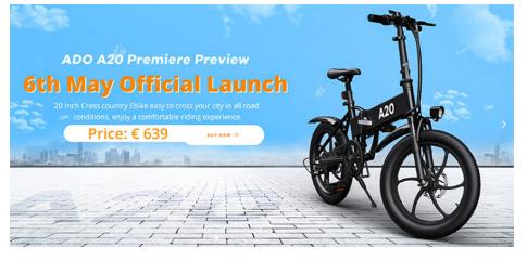 ADOA20带350W电机的可折叠电动自行车上市售价769美元