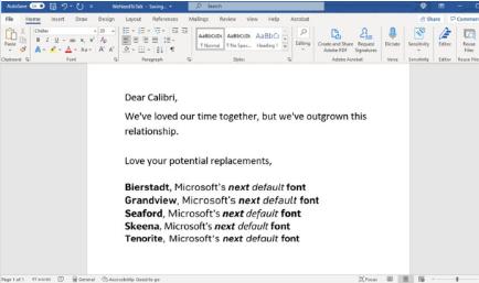 微软委托了五种新字体目的是将Calibri抛在后面